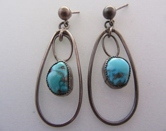 Vintage Sterling and Turquoise Handmade Dangle Earrings
