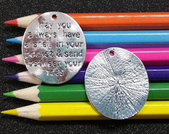 2 PCS - Shell Pocket Sand Toes Message Tag Word Silver Charm Pendant C0964