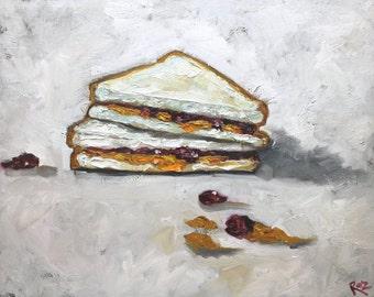 PBJ Sandwich painting 13 16x20 inch original oil painting by Roz