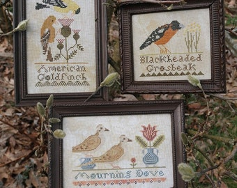 The Bird Collection, Part I; American Goldfinch, Blackheaded Grosbeak, Mourning Dove : Cross Stitch Pattern by Heartstring Samplery
