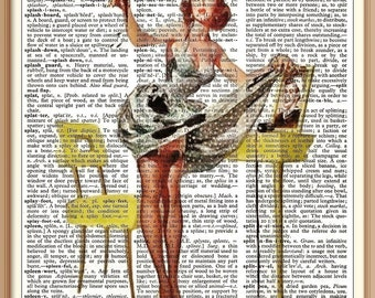 Vintage  Pin Up Girl -Oops---Vintage Dictionary Art Print---Fits 8x10 Mat or Frame