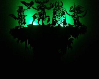 Warcraft Night Elf wooden wallclock with illumination