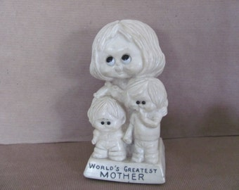 Vintage Mom Figurine, 1970's Russ Berrie Mom and Kids Figurine, World's Greatest Mother, Novelty Gift, Gift for Mom, Mid Century Decor