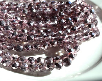 Light lavender Mirror Finish 8mm Faceted Czech Glass Beads   25