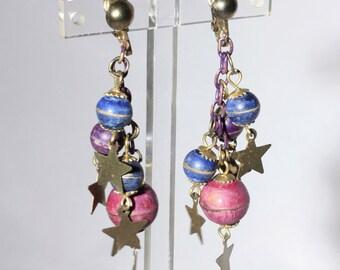 Planets and Stars Celestial Dangle Earrings, Pink, Blue, Purple, Clip On Earrings, Vintage Shoulder Dusters