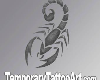 Tribal scorpion temporary tattoo design - 2x2 inch