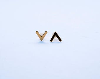 Brass Chevron Earrings studs - gold plated