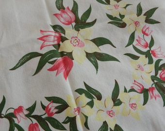 1940's Floral Tablecloth - Ruby Tulips and Yellow Daffodils -Vintage Home Decor - Vintage Linens