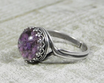Sterling Silver Adjustable Crown Ring with Preserved Lavender Petals Cabochon