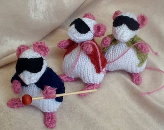 Hand knitted set of 3 Blind mice.