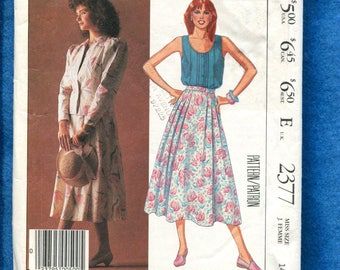 1980's McCall's 2377 Laura Ashley Camisole Top Jacket & Flared Pleated Skirt Size 14 UNCUT