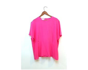 Hot Pink Silk Tshirt Blouse