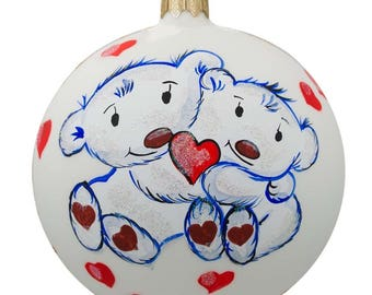 """4"""" Two Bears in Love Glass Ball Christmas Ornament"""