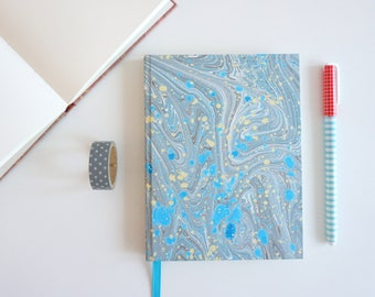 Marbled A6+ Notebook - Blue Notebook - Original Size Blanc Notebook - Diary - Hand Painted Cover