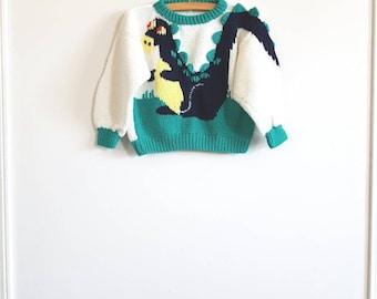 Vintage Dinosaur Knit Sweater