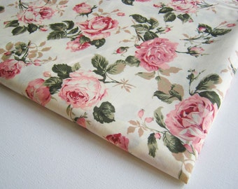 White fabric flower etsy vintage rose cotton fabric white fabric pink rose in the garden wedding spring pink flower bunch curtain dress fabric gift wrap ct146 mightylinksfo
