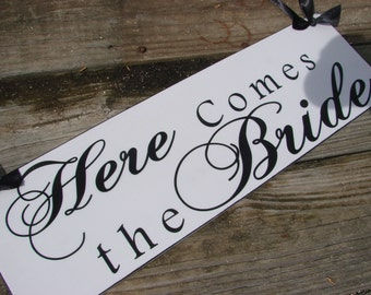 Here Comes The Bride Sign,  Wedding Sign and photo props, Ring bearer, flower girl, Single Sided 18in