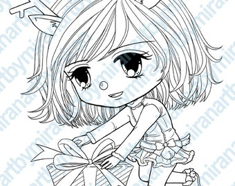 Christmas Digital Stamp - Rudy and her present, Big Eyed girl Coloring Page, Instant Download Printable Digi Stamp