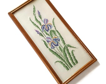Vintage Purple Iris Cross Stitch Stamped Embroidery Framed with Glass Purple Iris Flower Wall Art Iris Collectible Bearded Iris