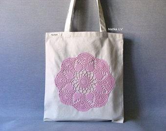 Tote bag, natural white shopping bag, linen eco bag, bag with crochet applique, grocery bag, summer canvas bag, market bag, beach bag