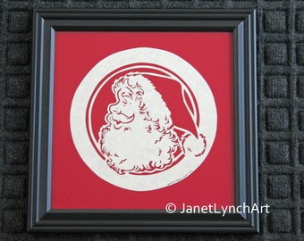 Scherenschnitte Paper Cutting Christmas Santa - Red - Framed 10x10 Hand Cut and Signed By Janet Lynch