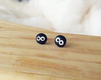 Polymer Clay Earrings/ Fairydust/ Totoro/ Stud Earrings/ Handmade Earrings/ Cute Earrings/ Surgical Steel