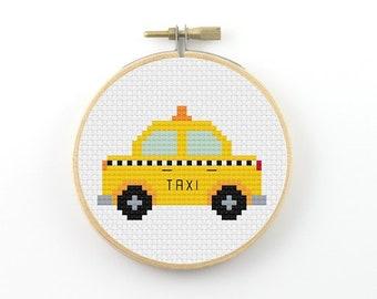 Yellow taxi cross stitch pdf pattern, yellow cab cross stitch, vehicle cross stitch, taxi cab, small cross stitch, car cross stitch