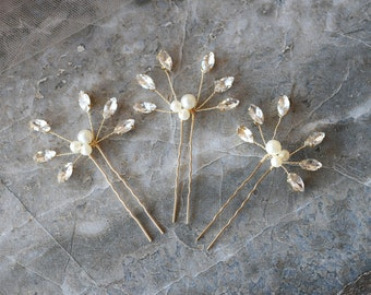 Vintage Wedding Hair Piece Pin, Rhinestones Pearl, Wedding Accessories, Flower,