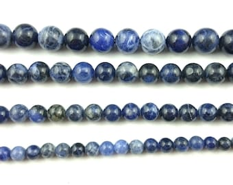 Natural Sodalite Beads, Blue Sodalite Gemstone Beads, Round Loose Stone Beads For Jewelry Making, 4mm 6mm 8mm 10mm 12mm 14mm 15''