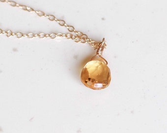 Gifts for Her, November Birthstone, Citrine Necklace, Dainty Necklace, Gold Filled, Sterling SIlver, Rose Gold