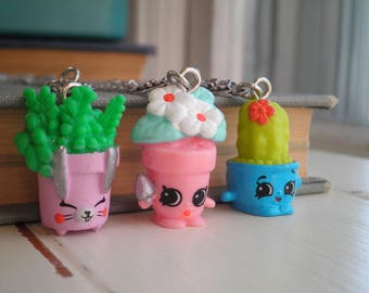 Kawaii Flower Pots / Plant Necklace Floral Jewelry Gift - Shopkins Potted Plant Charm Necklace on Long Chain - Mini Flower Cactus Succulents