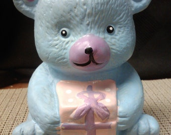 Blue bear with present coin bank made in China in the 1970s