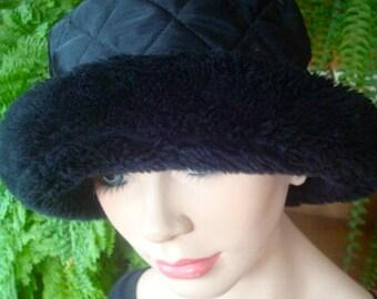 Black Bucket hat black satin quilted hat with fur brim soft hat travel hat