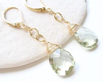 AAA Green Amethyst Earrings, AAA Prasiolite Earrings, Leverback Earrings, Mint Green Gemstone, Light Green Earrings, Prasiolite Jewelry