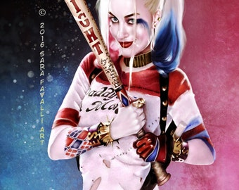 Harley Quinn Good Night art print fine art