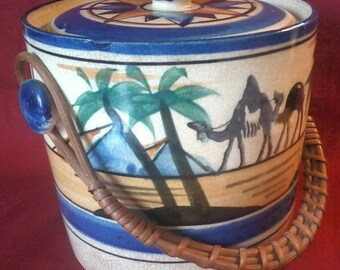 Vintage 1920's Egyptian Revival Covered Ice Bucket Japan