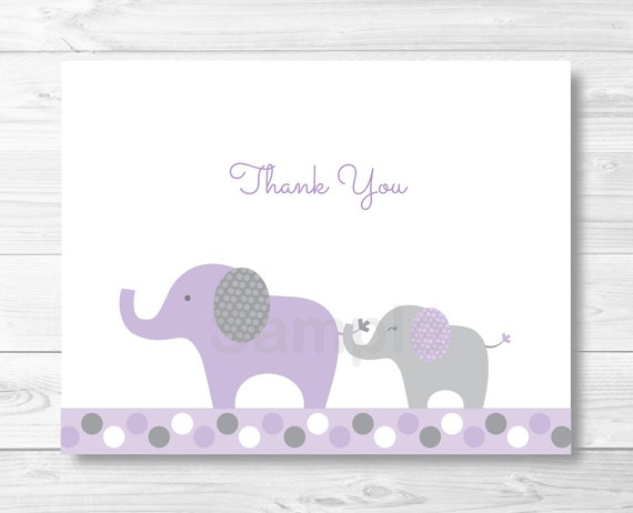Purple Elephant Thank You Card / Folded Card Template / Elephant Baby Shower  / PRINTABLE Instant Download A409