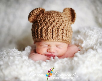 PDF Crochet Pattern - Teddy Bear Hat (sizes Newborn to 12 months)