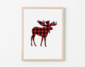 Red Buffalo Check Moose Nursery Art. Nursery Wall Art. Nursery Prints. Animal Wall Art. Boy Wall Art. Adventure Nursery. Moose Print.