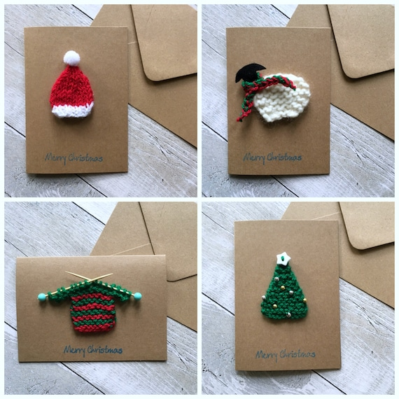 unique christmas cards knitted card set unique cards handmade 29007
