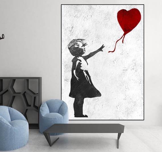 Extra Large Wall Art, Banksy Red Balloon Girl, Large Abstract Painting On  Canvas, Original Abstract Painting, Banksy Graffiti Art