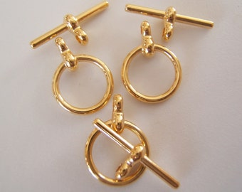 3 Sets - Shiny Gold  over Brass Toggles