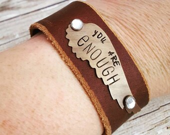Leather Cuff, Leather Bracelet, Cuff Bracelet, Brown Leather Cuff, Inspirational Jewelry, Leather Wristband, Womens Gift, Leather Jewelry