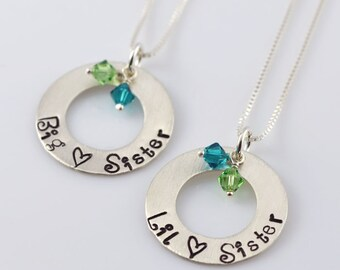 "Big and Lil Sister Necklaces - 7/8"" Hand Stamped Sterling Silver Disc, Swarovski Crystals"