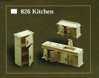 KITCHEN Model Furniture Kit in 12th Scale for Dolls House, Brand New with Sink Unit, Cupboard and Cabinet