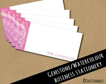 Compliment slips, watercolour branding, DL size, Business stationery, Thank you cards, with compliments, thank you note, compliment slip,