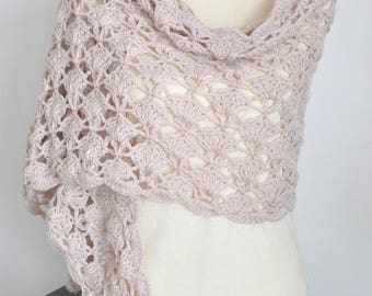 SALE - Crochet Shawl/Scarf - Beige