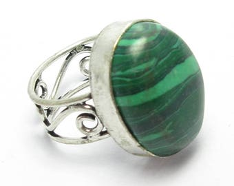 silver plated green stone ring