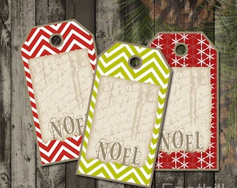INSTANT DOWNLOAD -  12 Christmas Noel Gift Tags - 1.5 x 2 7/8 - Printable Digital Collage Sheet -  DIY Xmas Hang Tags - Chevron Holiday