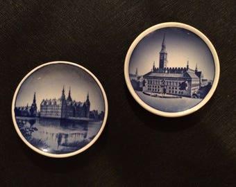 Denmark Blue and White Decorative Plates - Denmark Frederiksborg Slot castle and Denmark Kobenhavns Radhus